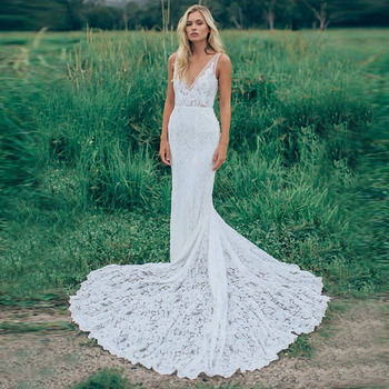 LORIE Beach Wedding Dresses White Sexy Backless V-Neck Mermaid Wedding Gown Lace Sleeveless Free Shipping Bridal Gowns 2019