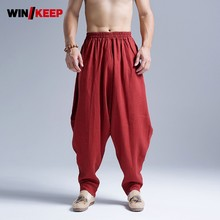 Купить с кэшбэком Mens Cotton Linen Baggy Pants Kung Fu Martial Arts Sports Pants Drop Crotch Loose Harem Pants Folk Tai Chi Trainer Sweatpants