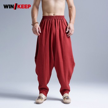 Mens Cotton Linen Baggy Pants Kung Fu Martial Arts Sports Pants Drop Crotch Loose Harem Pants Folk Tai Chi Trainer Sweatpants