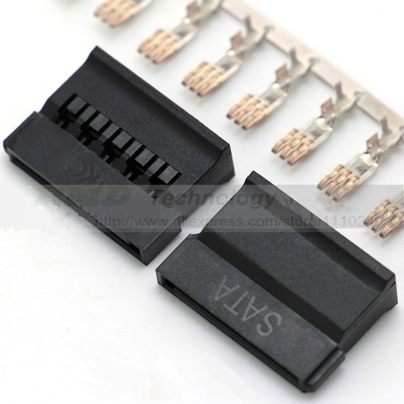 10 sets/lot Black IDE HDD sata Power male connector with copper terminal metal pin for Hard Disk 50pcs lot copper crimp terminal kf50801 rt for 5 08mm ide hdd power female connector free shipping