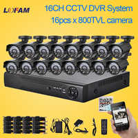 LOFAM 800TVL CCTV 16 stks bullet outdoor Waterdichte IR Camera 16ch h.264 DVR Kit 16 kanaals beveiliging video surveillance dvr systeem
