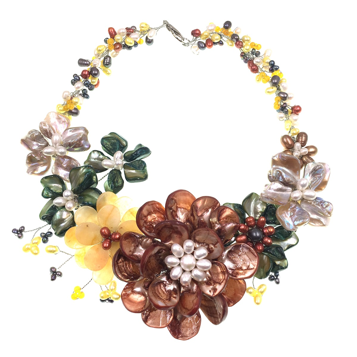 Most Popluar Natural Stone Jades Freshwater Pearl Shell Flower Wrap Necklace Women Jewelry Gifts