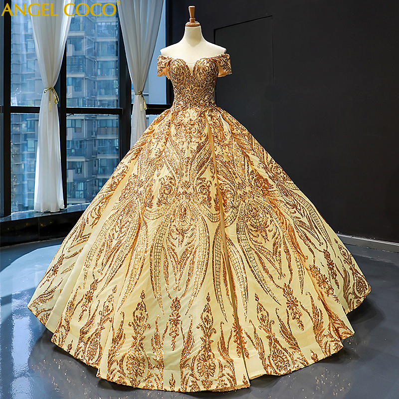 New Extremely High End Luxury Maternity Arabic Golden Evening Dresses Heavy Beading Satin Flowers Train Evening Gown Prom Dress
