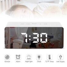LED aynalı masa lambaları dijital alarmlı saat saat gece lambası zaman tarih sıcaklık LED ekran ayna masa saati erteleme fonksiyonu ile