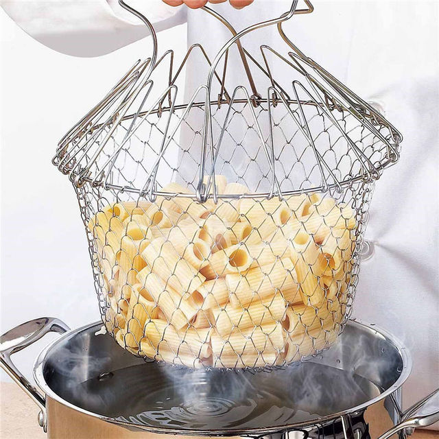 1pcs Foldable Steam Rinse Strain Fry French Chef Basket Magic Basket Mesh Basket Strainer Net Kitchen