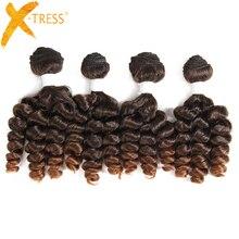 X-TRESS 16-18 дюймов Funmi вьющиеся синтетические волосы ткет 4 пряди Омбре коричневый цвет короткие волосы Уток Наращивание Термостойкое волокно