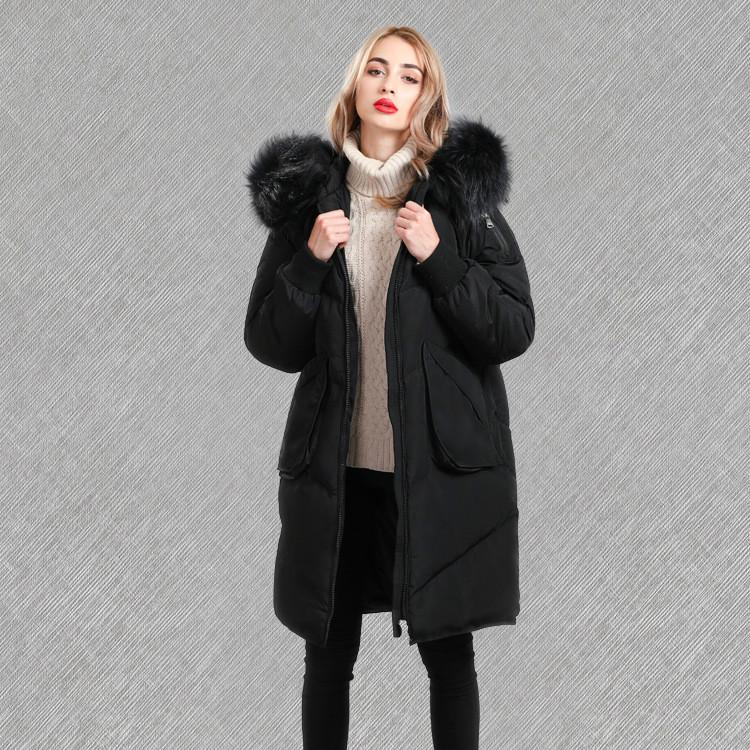 Fashion Big Raccoon Fur Collar Down Jacket Female Thick Loose Large Size Winter Coat Maternity Coat Pregnant Winter Coats цены онлайн