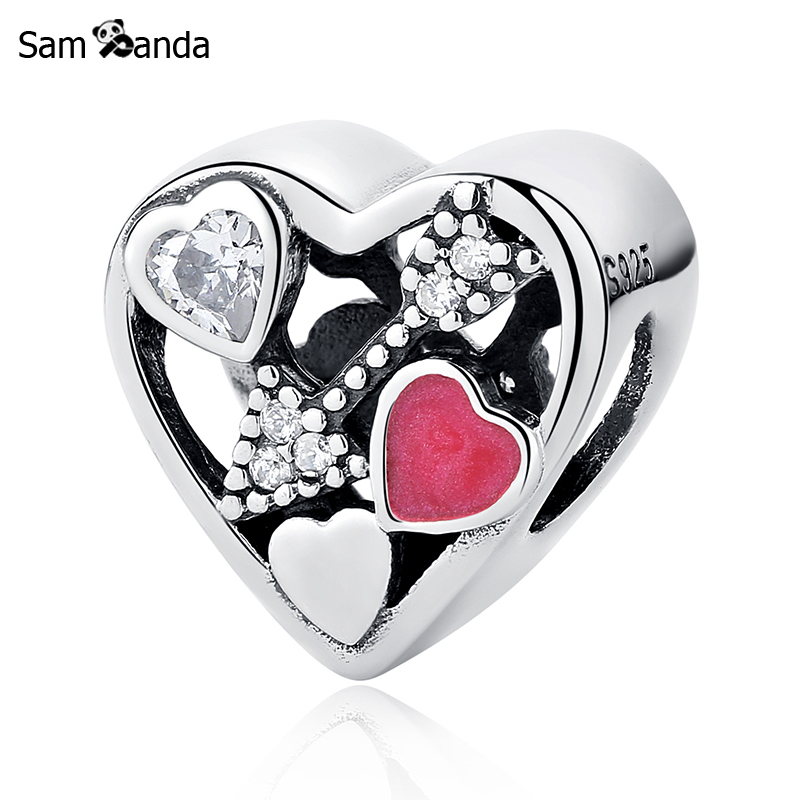 Authentic 925 Sterling Silver Charm Bead Struck By Love Magenta Enamel Charms Fit Pandora Bracelets & Bangles Women DIY Jewelry ...