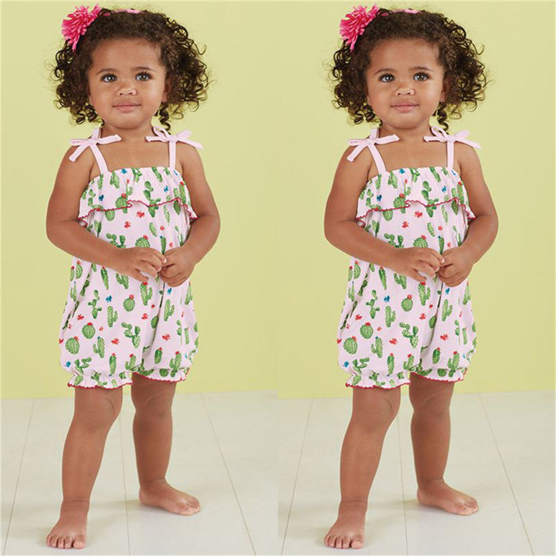 Kids Baby Girls clothes Cactus print off shoulder strap cotton Romper sleeveless casual Toddler newborn Jumpsuit one pieces