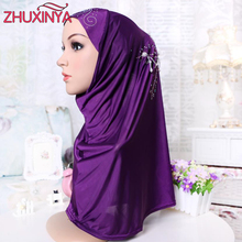 60x60cm plus size Modal Muslim Under Scarf Hat Cap Printed Pearl Hijab Islamic Head Wear Neck Chest Cover Hijab
