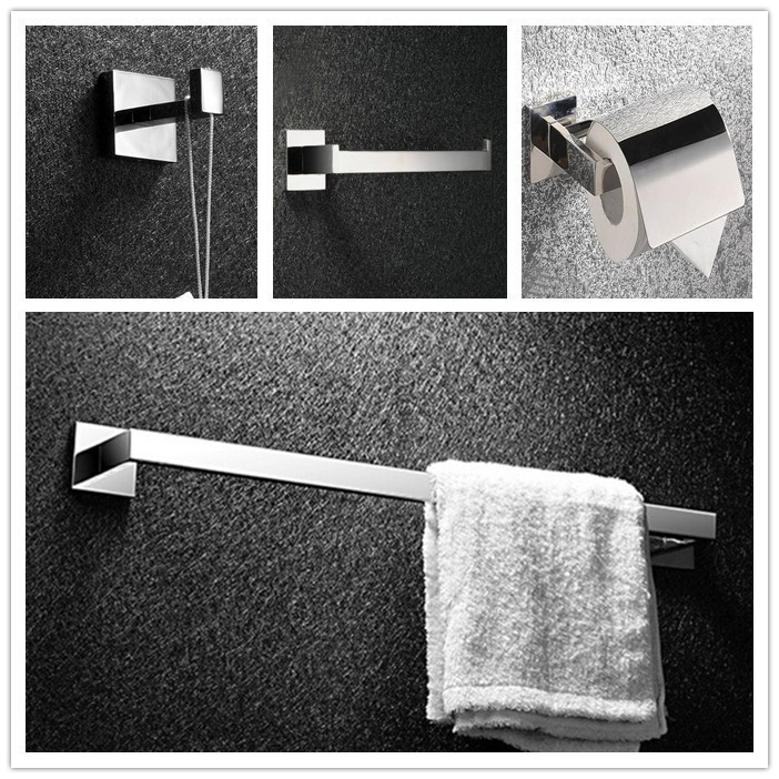 Free shipping Bath Accessories Hardware Set Square Solid SUS 304 S/S ,Bathroom Towel Ring,Paper Holder,Towel Bar,Wall Hook SM08B fully copper bathroom towel ring holder silver