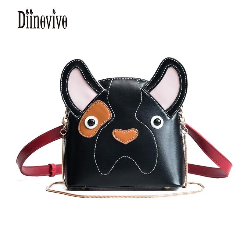 DIINOVIVO Animal Dog Panelled Waist Bag PU Leather Lovely Antitheft Belt Bag Travel Fash ...