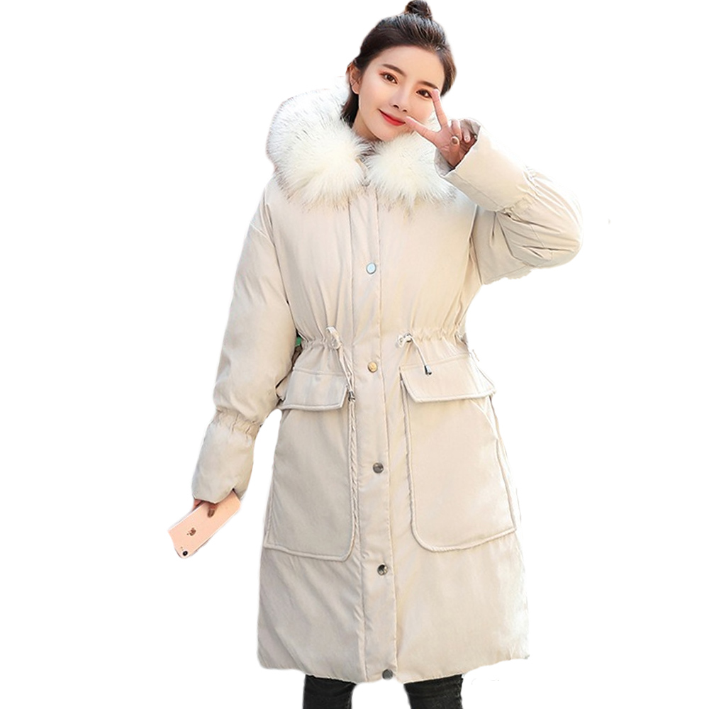Big fur collar cotton jacket with large collar loose pocket and thick Korean version in winter parka down parka 928