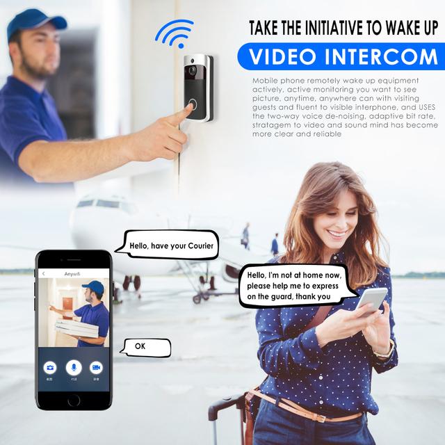 WiFi Visual Ring Smart Doorbell , Smart Home Wireless Camera Video Door bell , Phone Intercom Homekit Security Automation Module