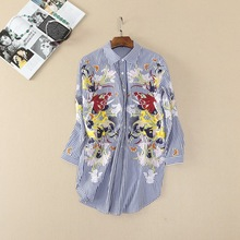 Newest 2017 Spring Loose stripe shirt Fashion woman's embroidery Long shirts Girls Chic tops blouse
