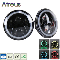 Atreus 1Pair 7 80W car headlights For Jeep Wrangler 1997 2016 Accessories Hi/Lo LED RGB Angel Eyes DRL Head Lights APP Control