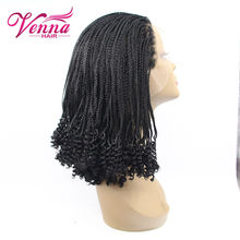Cute Short Black Micro Braid Wig For Black Women Heat Resistant Synthetic African American Braided Wigs