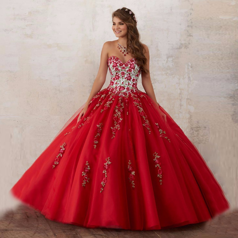 Elegant Embroidery Embellishment Ball Gown Traditional: Elegant 2018 Pink Red Quinceanera Dress Embroidery Ball