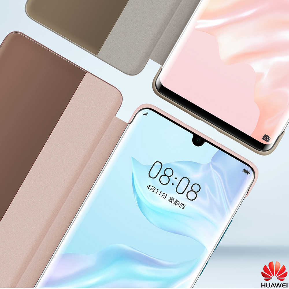 Funda de Huawei P30 Pro Flip Funda Original oficial de Huawei P30 Funda de teléfono inteligente táctil transparente Vista de cuero P30Pro Funda capa de