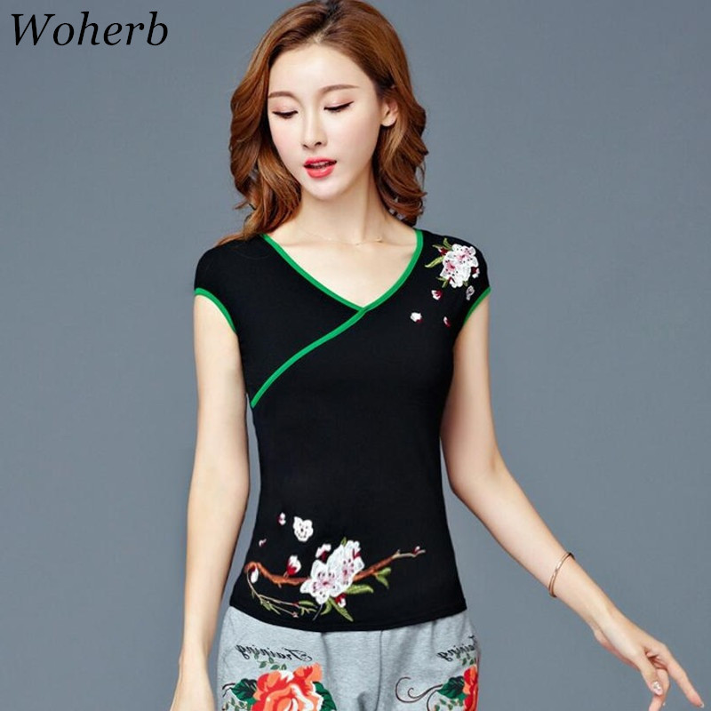 2019 Summer Women T Shirt 50 Fabulous Ladies 50th Birthday: Woherb Vintage Woman T Shirt 2019 Summer Floral Embroidery
