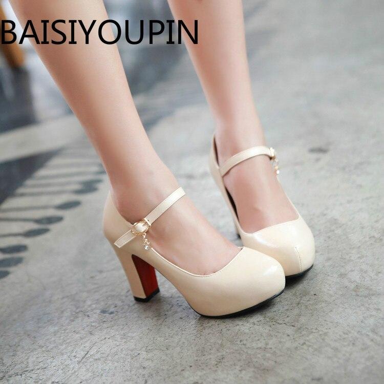 2018 Cabeça Redonda Das Mulheres sapatos de salto alto Grosso Plataforma deslizamento em sapatas de Vestido de fundo vermelho Couro Envernizado Branco Pequeno mais tamanho 32 43