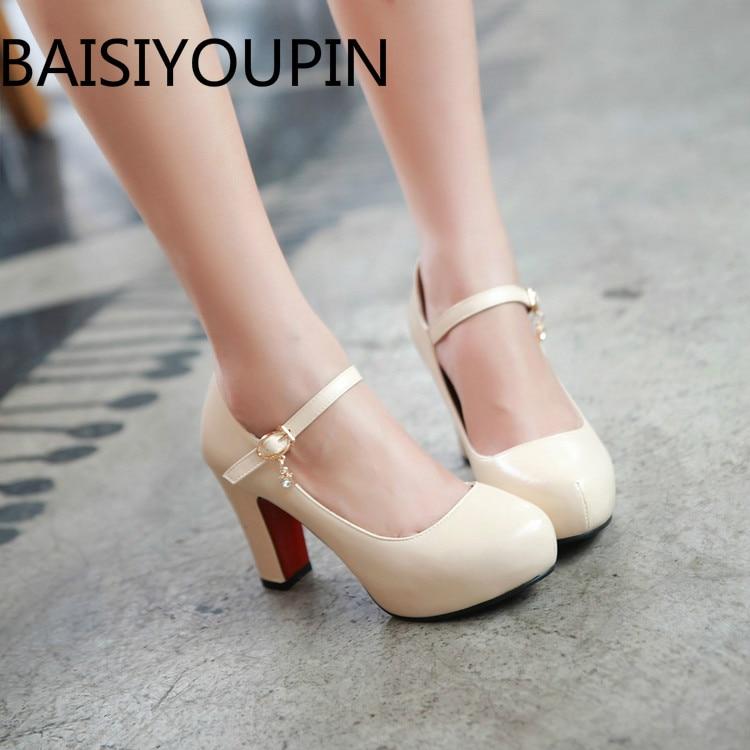 2018 Women Thick Heel Round Head Patent Leather White High Heel Rhinestone Platform All Match Dress Shoes Small Bie Size 32 43