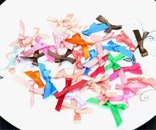50pcs Mini Satin Ribbon Flowers Bows mixed color 32*22mm Bow Applique, Tie Ribbon, Tiny