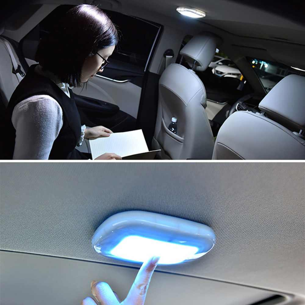 1PC Car Interior Ceiling Dome Reading Light USB Rechargeable Ceiling Lamp with Magnet Square Dome Vehicle Indoor Ceiling Lamp