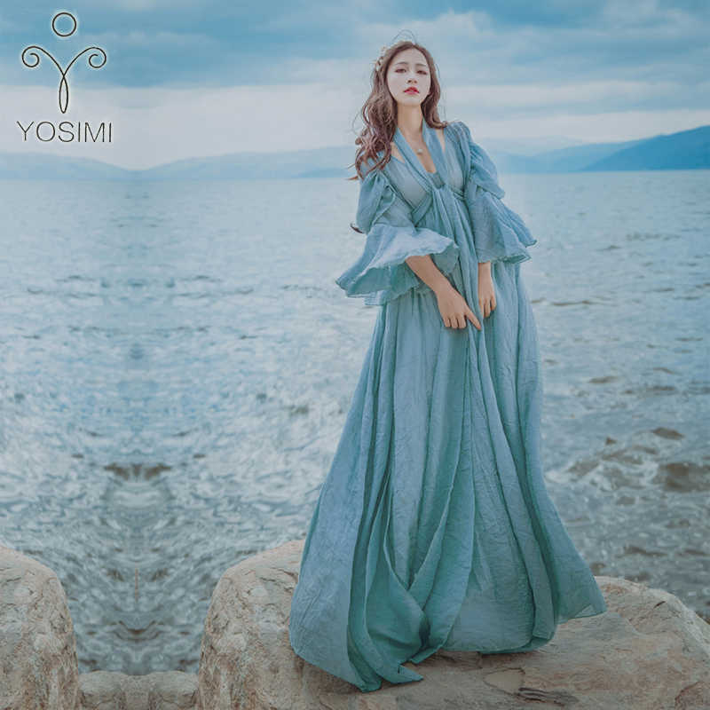 caf84679869 ... YOSIMI 2018 Summer Long Woman Dress Party High Quality Maxi Elegant  Cotton And Linen Fairy Long ...