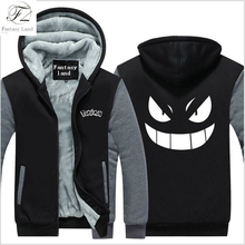 Dropshipping Anime Gengar Pokemon Go Mens Zipper Hoodie Fleece Thicken Pocket Monster Jacket Sweatshirt Coat