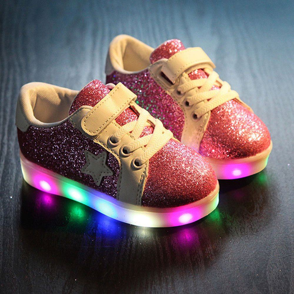 Childrens Black Led Wing Shoes
