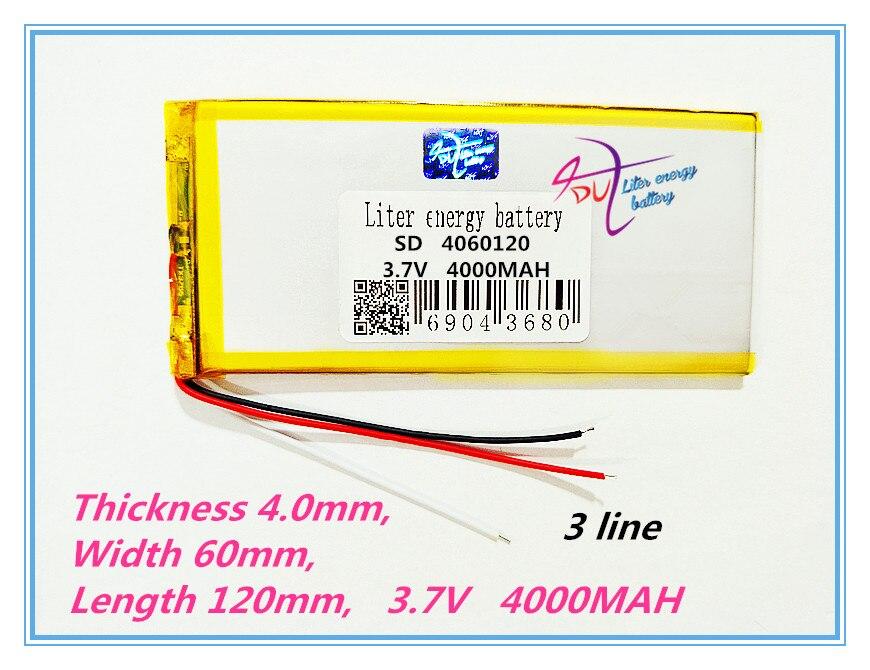3 line 4060120 3.7 V lithium polymer battery 4060120 tablet battery 4000 mah mobile power 3 7v 10000mah mobile power battery polymer lithium battery 6 8 61 96mm