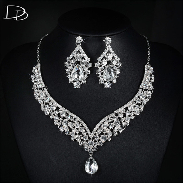 jewelry drop for cz earrings sapphire wedding brides set engagement women diamond elegant necklace water big blue dark and product