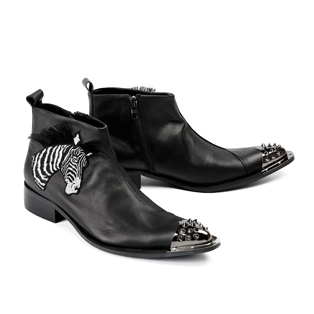 87a016840b3 Okhotcn Spike Toe Black Ankle Boots For Men Real Leather Black White Stripe  Zebra Luxury Male Shoes Pointed Toe Zip Boots Mens Mens Chelsea Boots ...