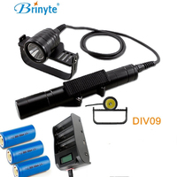 Brinyte DIV09 LED Dive Light CREE XML2 1000lm LED Scuba Diving Torch Flashlight 200M Underwater Lamp + 3X 26650 battery + charge