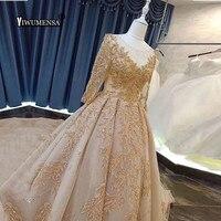 Detachable Train Champagnes Boho Wedding Dress Luxury Appliques 3/4 Sleeves Wedding Gowns Plus Size Bride Dresses Robe De Mariee