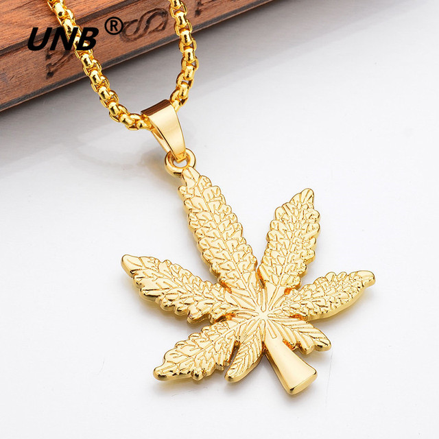 UNB 2017 New Gold Silver Plated Cannabiss Small Weed Herb Charm Necklace Maple Leaf Pendant Necklace Hip Hop Jewelry Wholesale 3