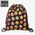Emoji black 3D printing backpack women Travel 2016 bags mochila feminina Wild party drawstring bag Trend line brand sac a dos