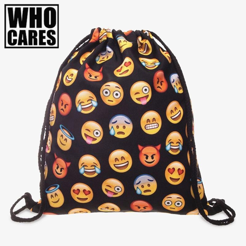 Emoji black 3D printing backpack women Travel 2017 bags mochila feminina Wild party drawstring bag Trend line brand sac a dos deanfun emoji backpack 2016 new fashion women backpacks 3d printing bags drawstring bag for men s79