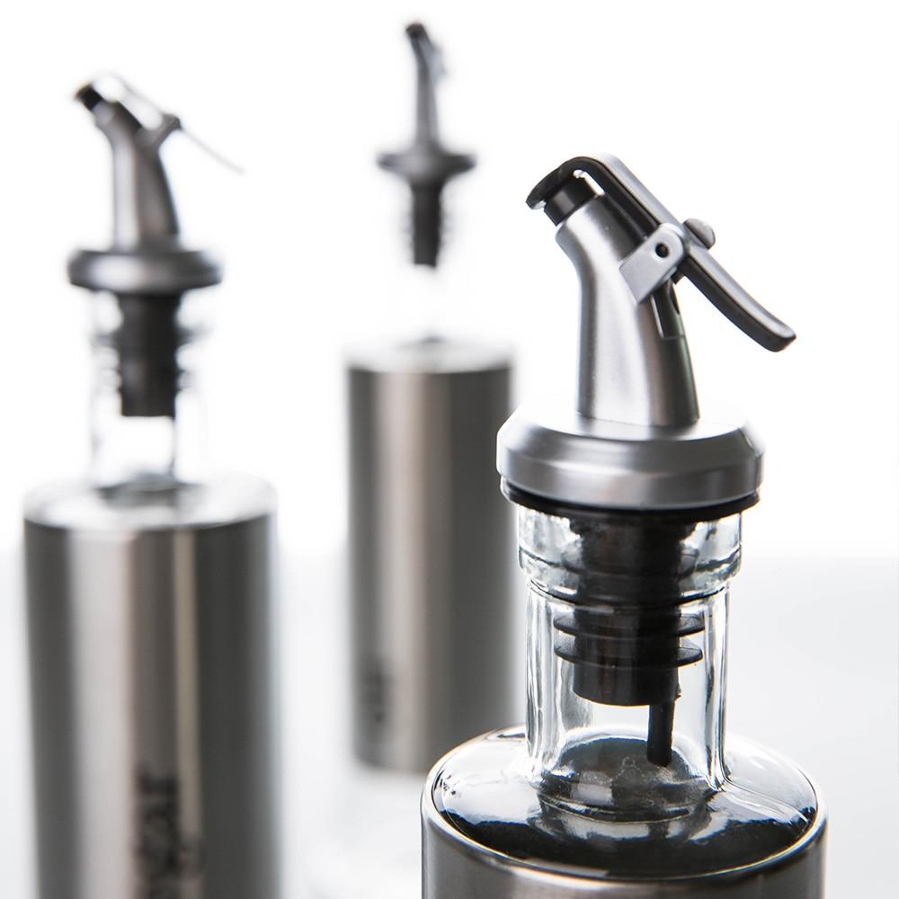 1pc 350ML Kitchen Glass Oil Bottle Stainless Steel Leak proof Soy ...