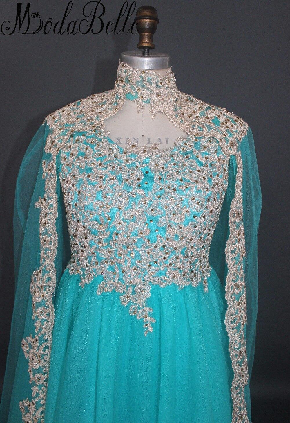 2017 Turquoise Blue Dubai Formal Dresses Long Cape Evening Dresses ...
