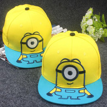 2016 New Children Cartoon Steal Dad film Yellow Man Minions Snapback Caps Flat along the Hip-Hop Hat
