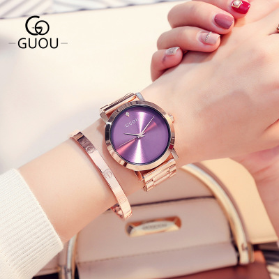 GUOU 2018 New Famous Brand Rose gold Casual Quartz Watch Women Watches Luxury Stainless Steel Dress Relogio Feminino Clock купить недорого в Москве