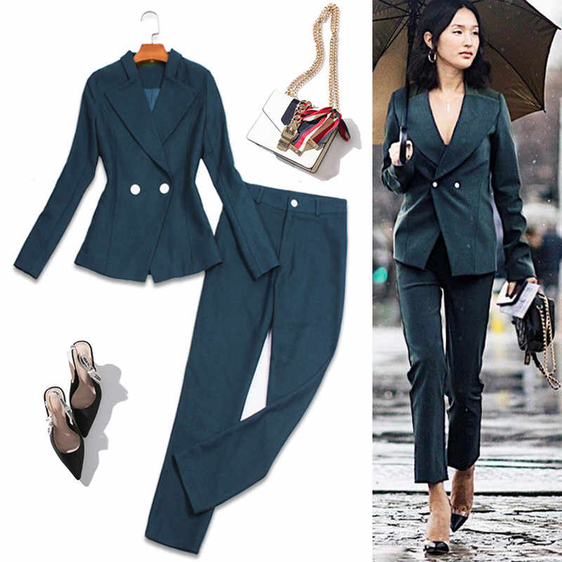 Sexy Pant Suits For Women Retro Elegant Formal Business Wear Office Lady Blazer Pant Two Piece Set Evening Party Female Clothes