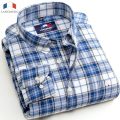 Langmeng 2015 warm 100% cotton men flannel casual shirts long sleeve plaid dress shirt sanded quality mens shirt chemise homme