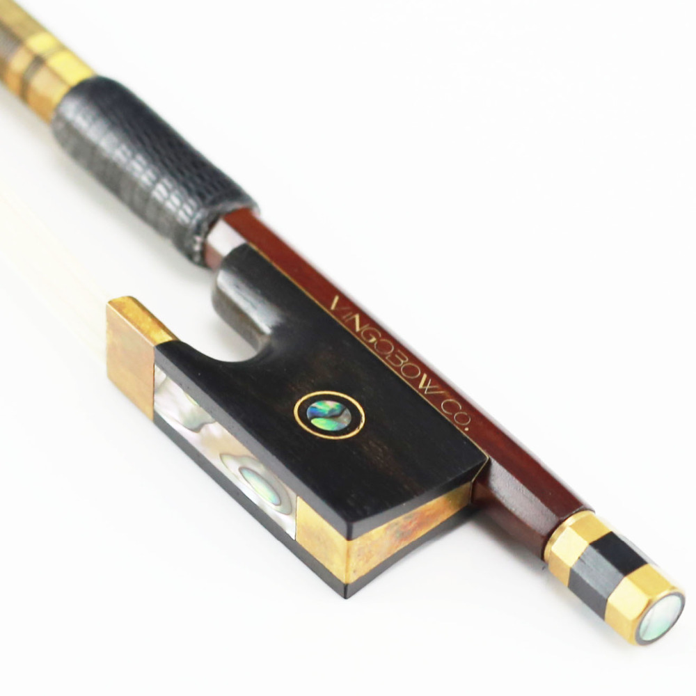 810V 4/4 Size Pernambuco VIOLIN BOW Ebony Frog with Parisian Eyes Brass Aolly Mounted Natural Horsehair Violin Parts Accessories 127v 4 4 size violin bow carbon fiber core with pernambuco skin stick snakewood frog natural horsehair violin parts accessories