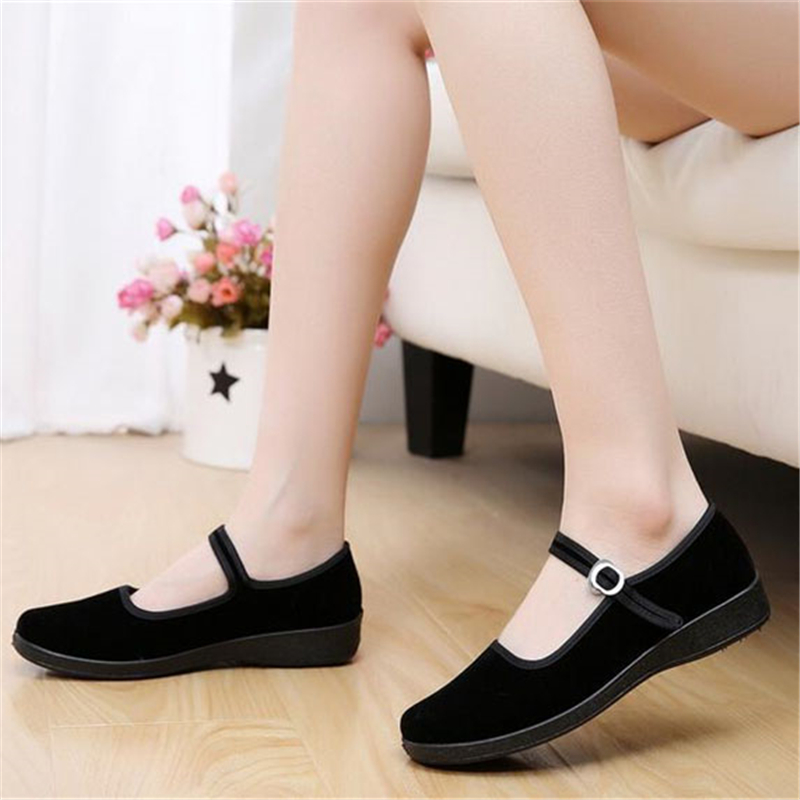 janes story ja025bwhed31 2017 Mary Janes Ladies Flats Buckle Strap Comfortable Women Shoes Round Toe Solid Casual Shoes Plus Size 34~41 Black