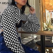 Realpopu Loose Flare Sleeve Crop Top Women Drawstring Hooded Long Sleeve Checkerboard T Shirt Woven Fashion Kawaii 2018 Summer