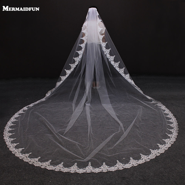 2017 New Arrival Vintage Lace One Layer Beautiful Wedding Veil With Comb 3 Meters Long White