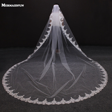 2017 New Arrival Vintage Lace One Layer Beautiful Wedding Veil with Comb 3 Meters Long White Bridal for